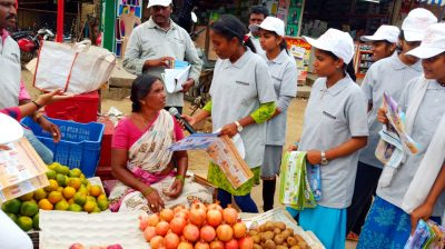 Interaction and awareness campaign at fruit market by Youth advocates
